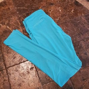 LuLaroe OS 2-12 Leggings Solid Color Green-Blu NEW